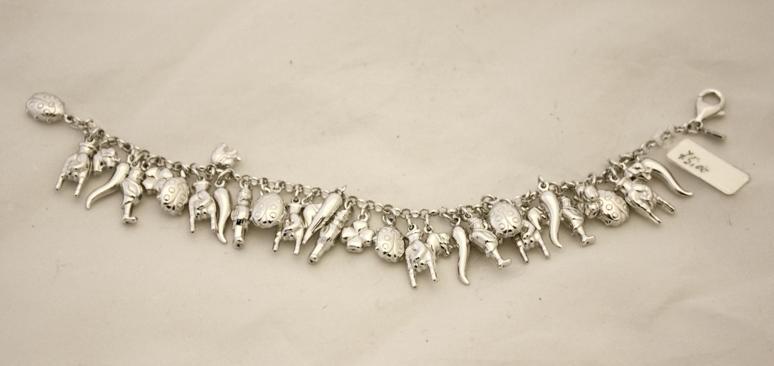 Conosciuto Bracciale Alexia in argento con charms/ciondoli portafortuna  EJ32