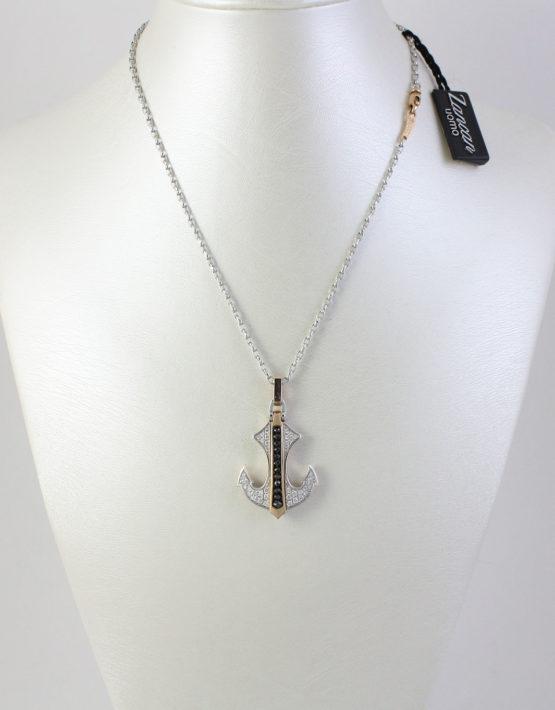Collana Zancan a forma di àncora in Oro 18 kt e Diamanti ref. EC260RB .1