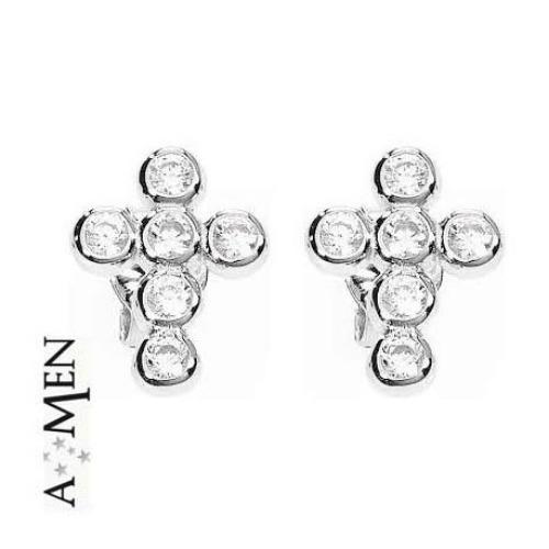 design senza tempo 759d8 dfafc Orecchini a croce Amen in argento e cristalli ref. OBOBB