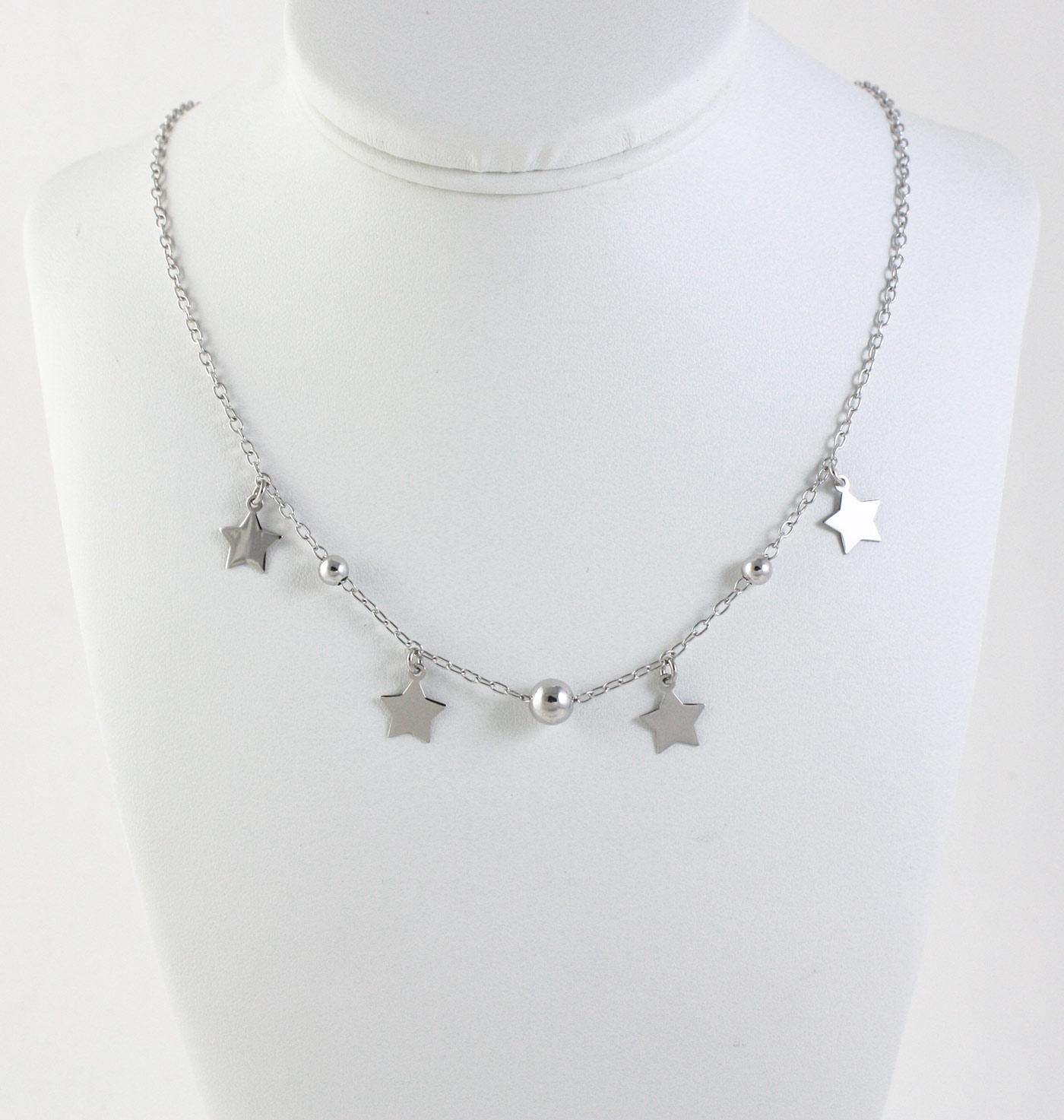miglior servizio 82e22 e9956 Collana girocollo in argento 925 con stelle pendenti e sfere