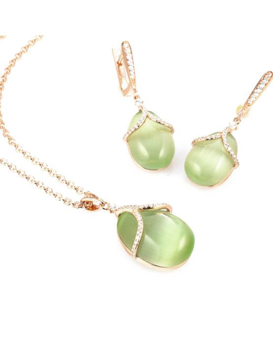 Collana-e-Orecchini-con-pendente-verde-Collezione-Olga-Maison-Tatiana-Fabergé